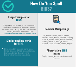 Correct spelling for bins
