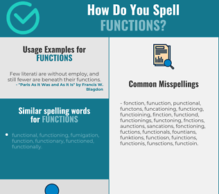 Correct spelling for functions