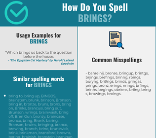 Correct spelling for brings