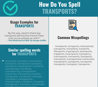 Correct spelling for transports