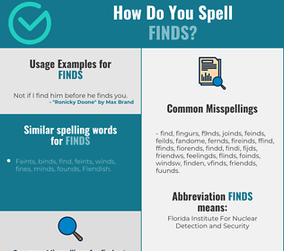Correct spelling for finds