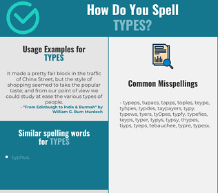 Correct spelling for types