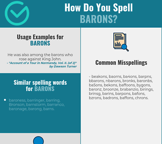 Correct spelling for barons