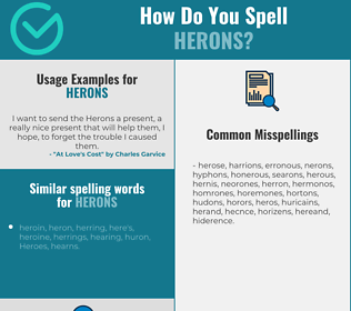 Correct spelling for herons