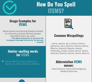 Correct spelling for items