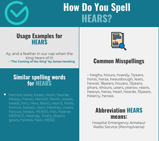 Correct spelling for hears