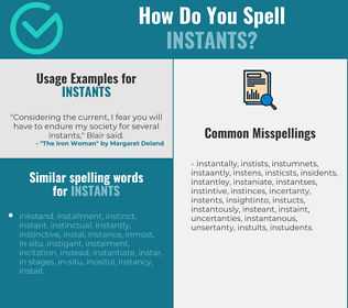 Correct spelling for instants