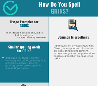 Correct spelling for grins