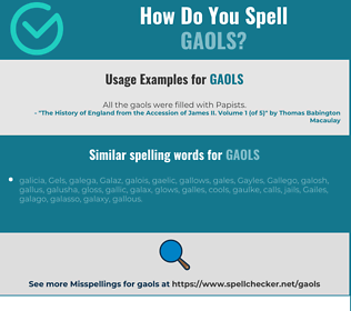 Correct spelling for gaols