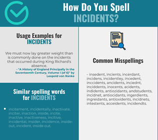 Correct spelling for incidents