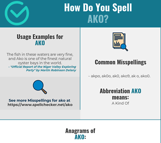 Correct spelling for AKO