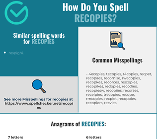 Correct spelling for recopies