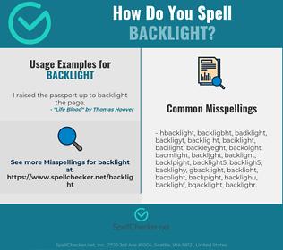 Correct spelling for backlight