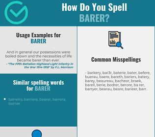 Correct spelling for barer