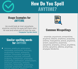 Correct spelling for anytime