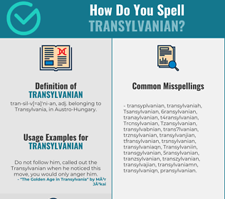 Correct spelling for Transylvanian