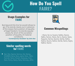 Correct spelling for faire