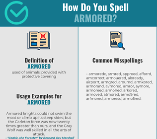 Correct spelling for armored