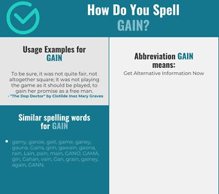 Correct spelling for gain
