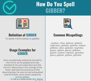 Correct spelling for gibber