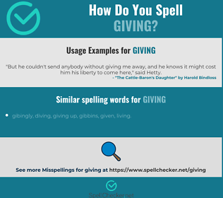 Correct spelling for giving