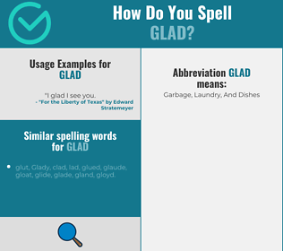 Correct spelling for glad