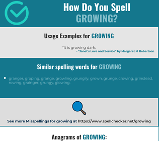 Correct spelling for growing