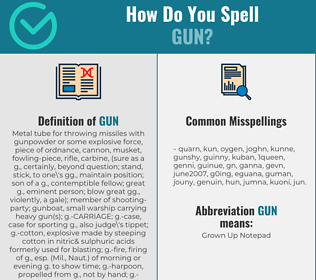 Correct spelling for gun