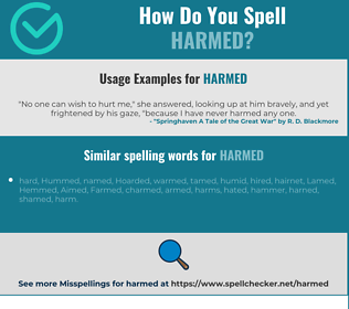 Correct spelling for harmed