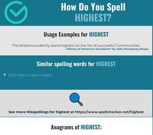 Correct spelling for highest
