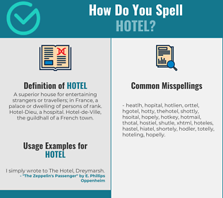 Correct spelling for hotel