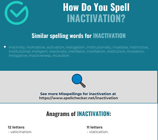 Correct spelling for inactivation