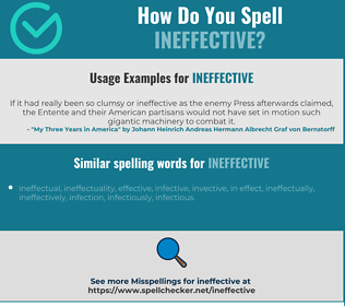 Correct spelling for ineffective