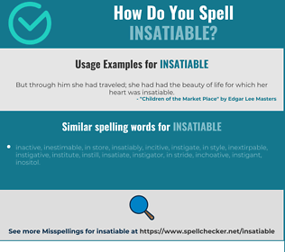 Correct spelling for insatiable