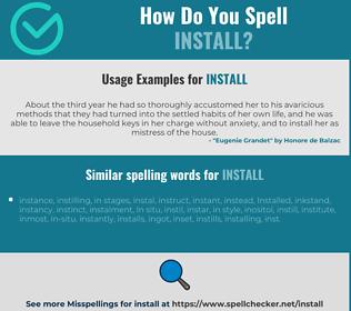 Correct spelling for install