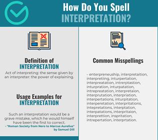 Correct spelling for interpretation