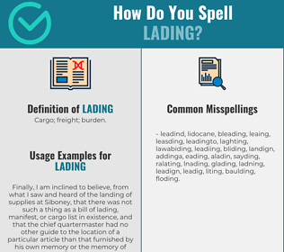 Correct spelling for lading