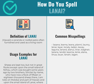 Correct spelling for lanai