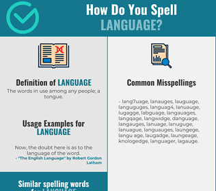 Correct spelling for language