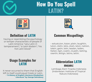 Correct spelling for latin