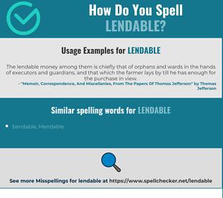 Correct spelling for lendable