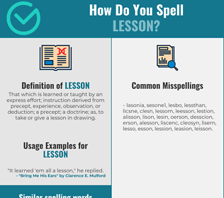 Correct spelling for lesson