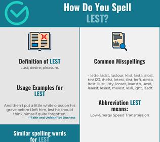 Correct spelling for lest
