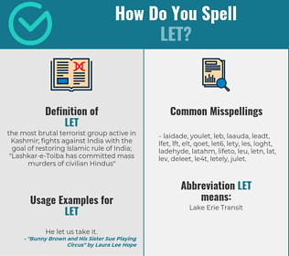 Correct spelling for let