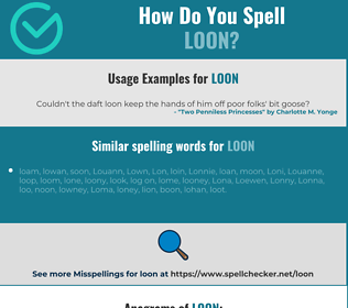 Correct spelling for loon