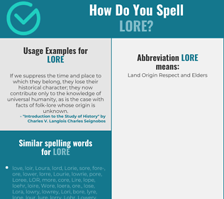 Correct spelling for lore