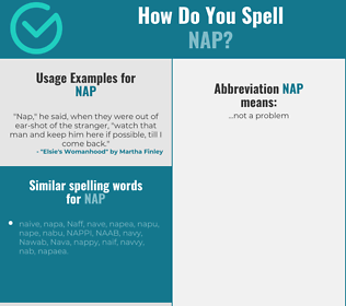 Correct spelling for nap