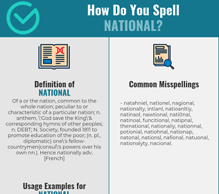 Correct spelling for national