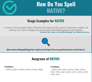 Correct spelling for native