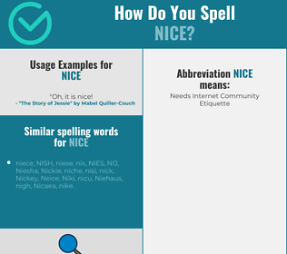 Correct spelling for nice